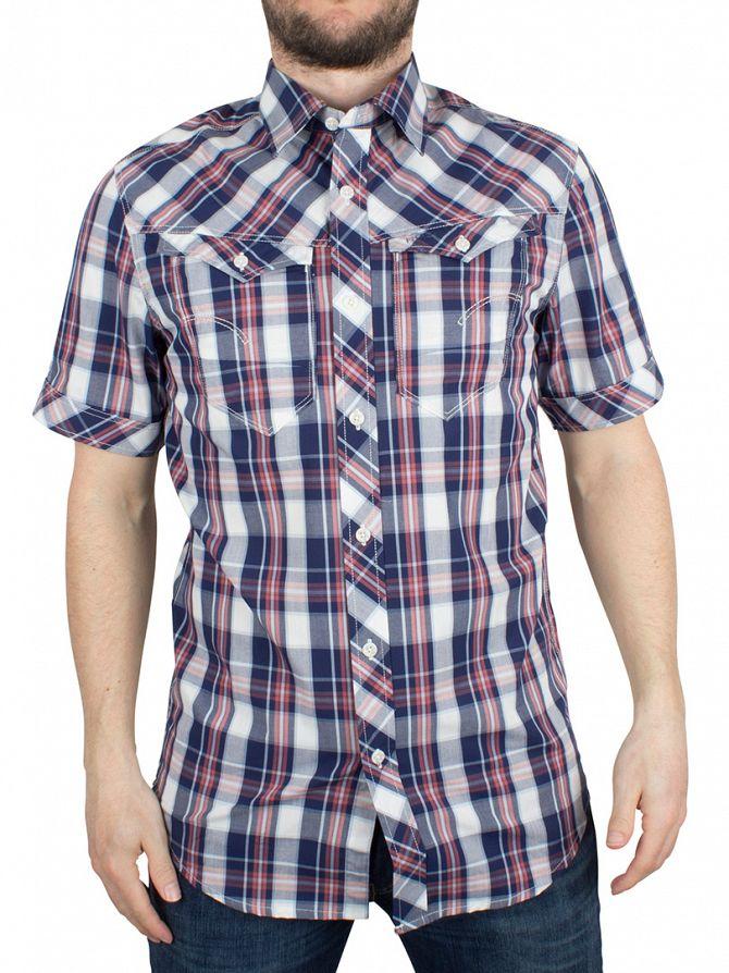 G-Star Milk/Swedish Blue Check Arc 3D Shortsleeved Slim Fit Checked Shirt