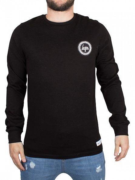 Hype Black Longsleeved Crest Logo T-Shirt