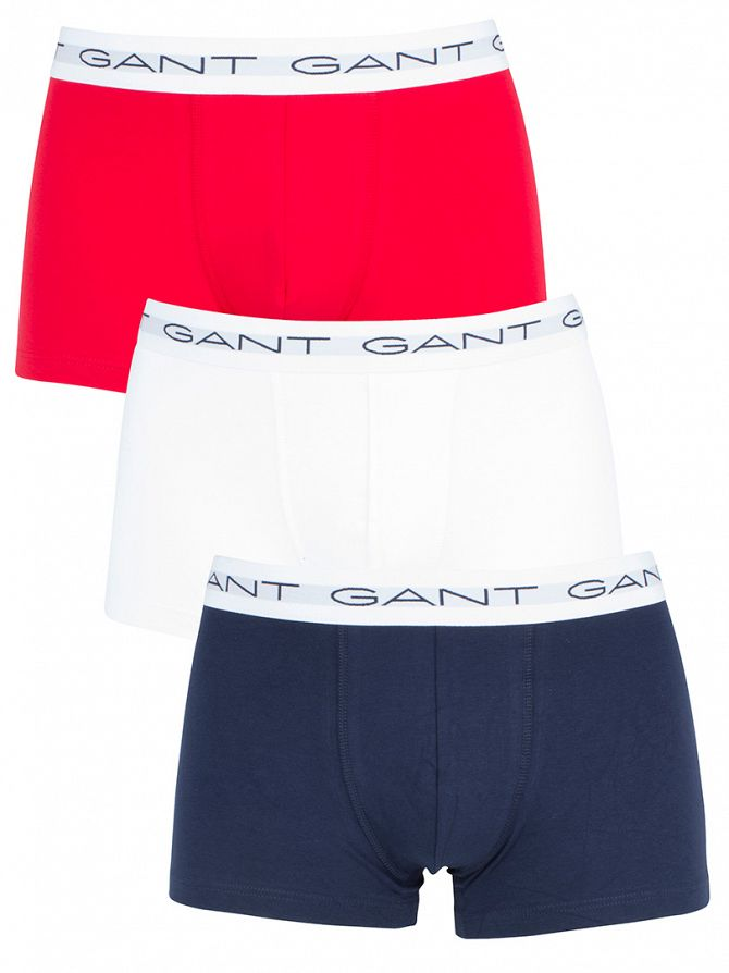 Gant Red/White/Navy 3 Pack Cotton Stretch Essential Trunks