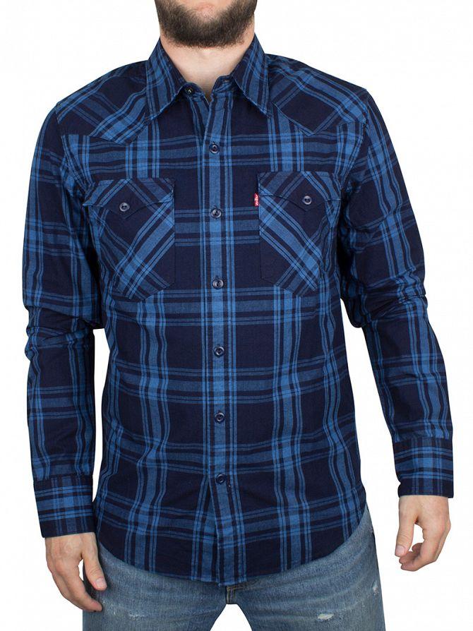 Levi's Mid Blue Barstow Western Galingale Indigo Plaid Shirt