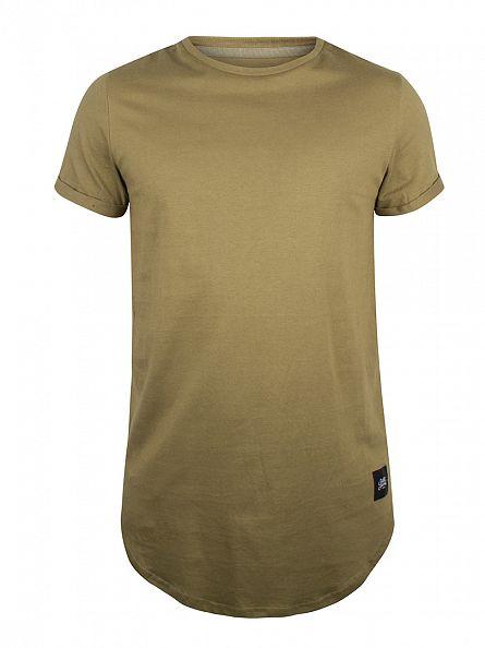 Sixth June Khaki Plain Logo Curved Hem T-Shirt