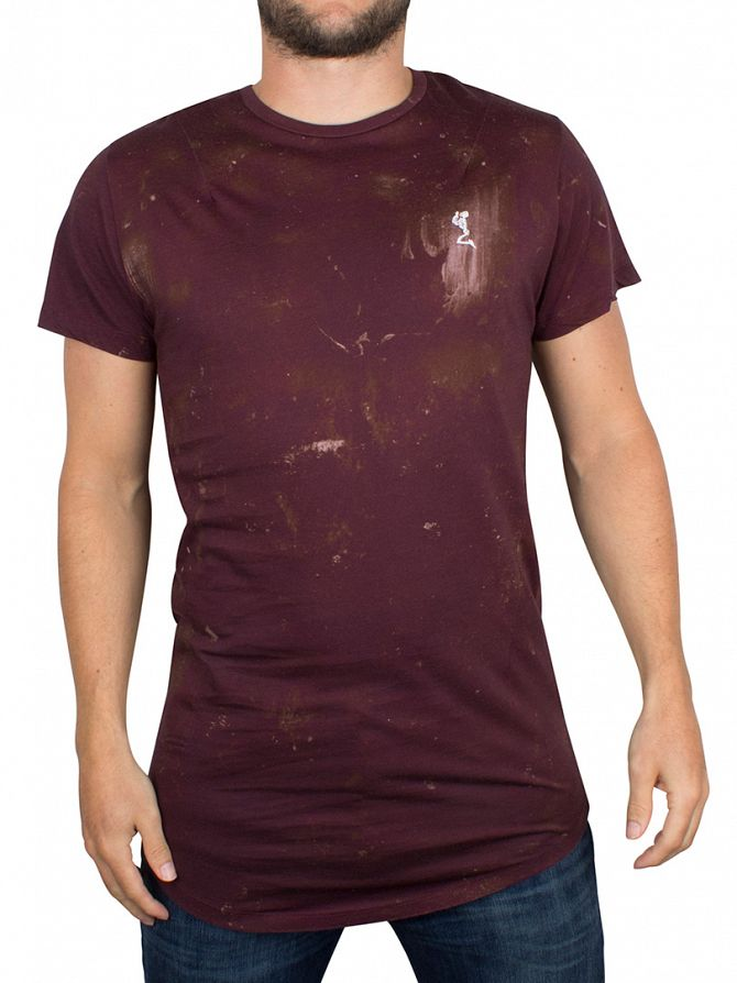 Religion Red Stained Shadow Curved Hem Logo T-Shirt