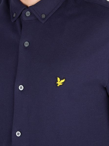 Lyle & Scott Navy Button Through Pique Shirt