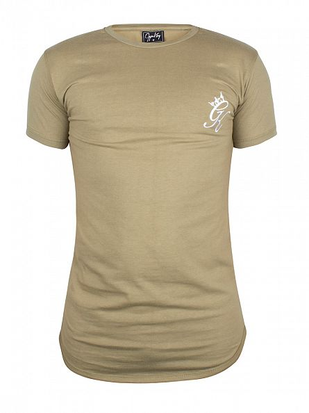 Gym King Khaki Long Line Curved Hem Logo T-Shirt