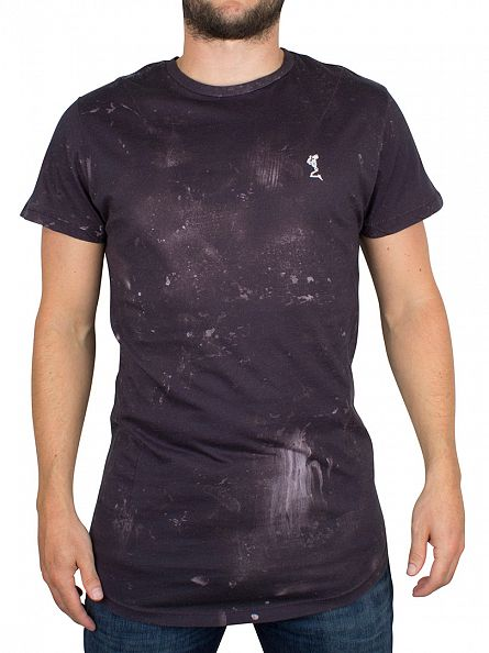 Religion Black Stained Shadow Curved Hem Logo T-Shirt