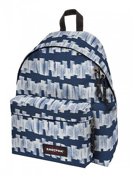 Eastpak Blue/White Padded Pak R Doodle Tag Logo Backpack