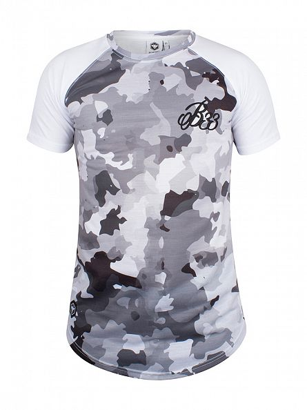 Bee Inspired Grey Loxley Raglan Camo Logo Curved Hem T-Shirt