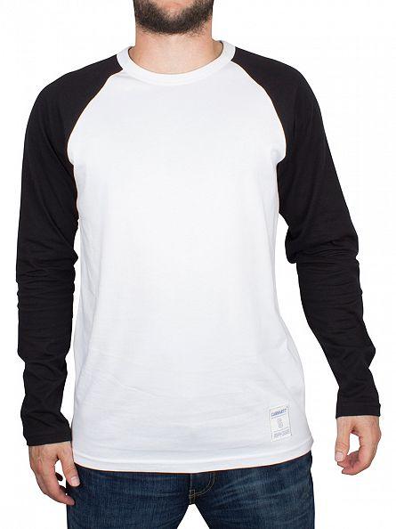 Carhartt WIP White/Black Longsleeved Plain Dodgers Raglan T-Shirt