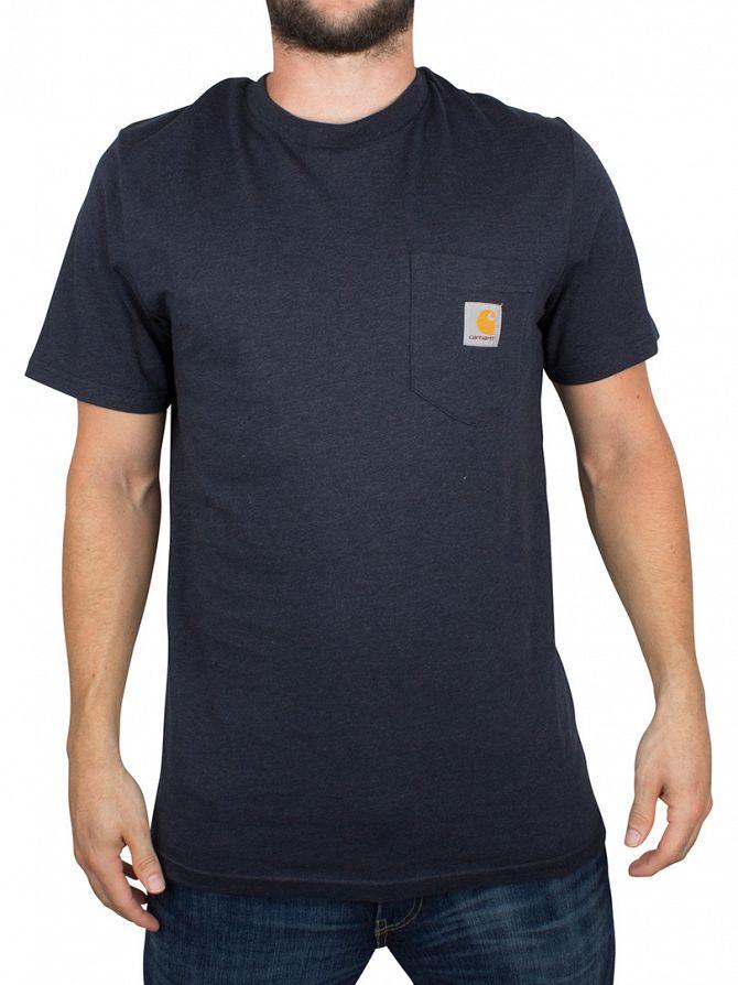 Carhartt WIP Navy Heather Marled Logo Pocket T-Shirt