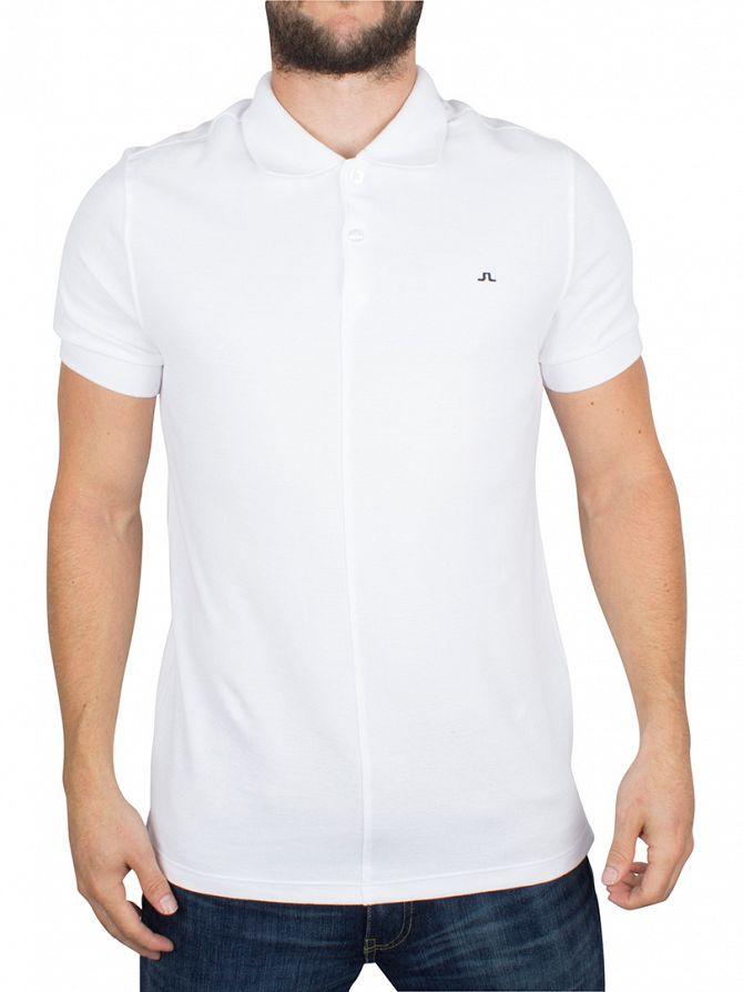 J Lindeberg White Slim Fit Rubi Pique Logo Polo Shirt