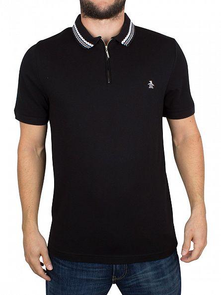 Original Penguin True Black Ottoman Pique Tipped Logo Polo Shirt