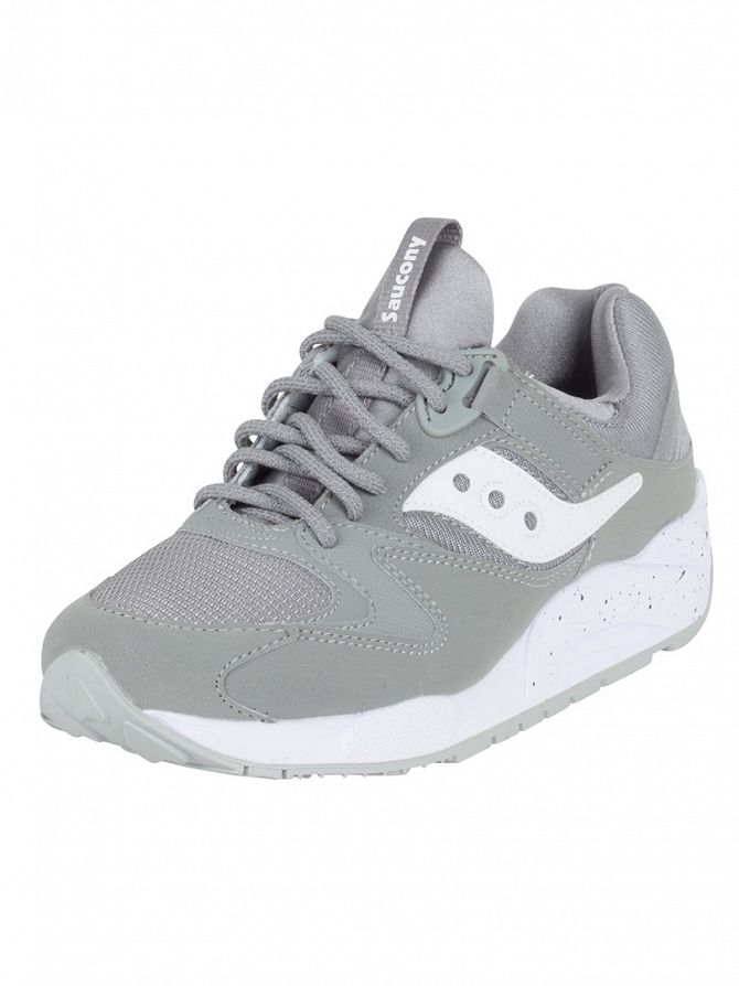 Saucony Grey/White Grid 9000 Trainers