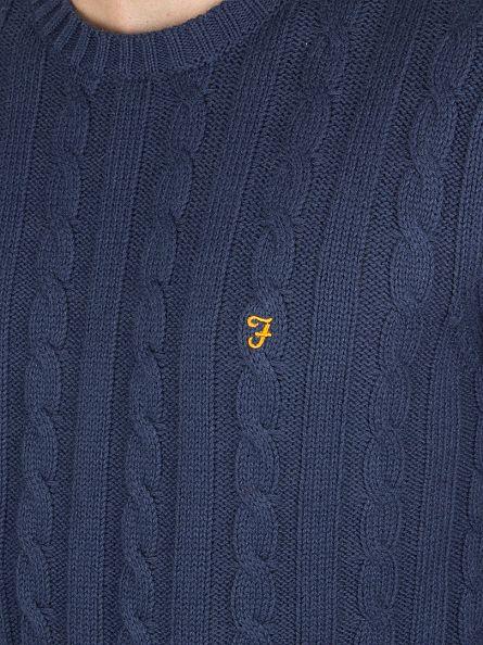 Farah Vintage Yale Blue Norfolk Logo Cable Knit