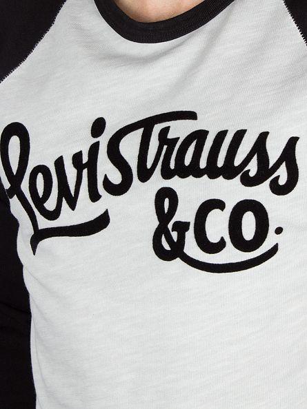 Levi's Grey/Black Raglan Flock Natural Baseball T-Shirt