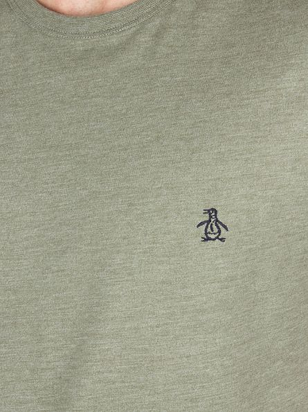 Original Penguin Dusty Olive Heather Peached Jersey Marled Logo T-Shirt