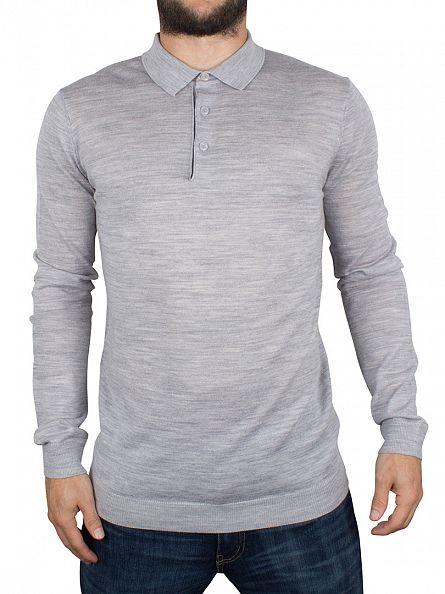 Minimum Light Grey Melange Longsleeved Jaylen Polo Shirt Knit