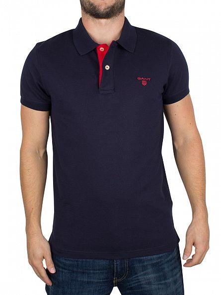 Gant Marine Contrast Collar Pique Logo Polo Shirt