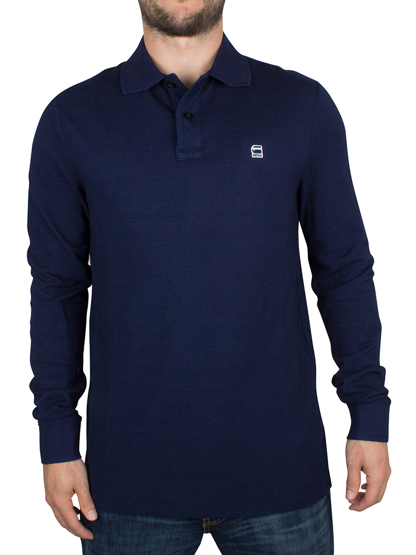 g star herren longsleeved core logo polo hemd blau ebay. Black Bedroom Furniture Sets. Home Design Ideas