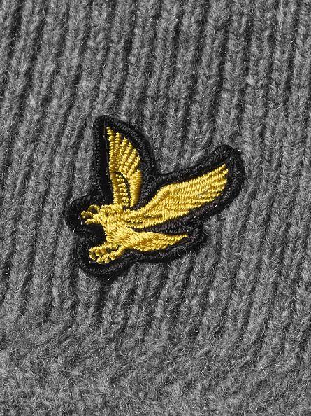 Lyle & Scott Mid Grey Marl Racked Rib Logo Scarf