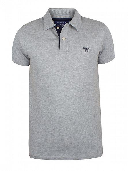 Gant Grey Melange Contrast Collar Pique Logo Polo Shirt