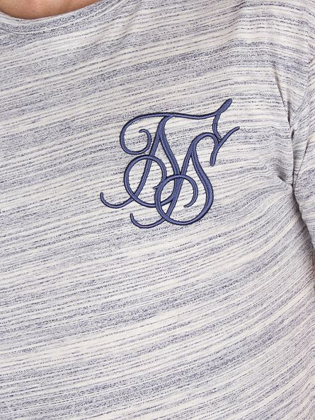 Sik Silk Navy Rib Curved Hem Logo Knit T-Shirt