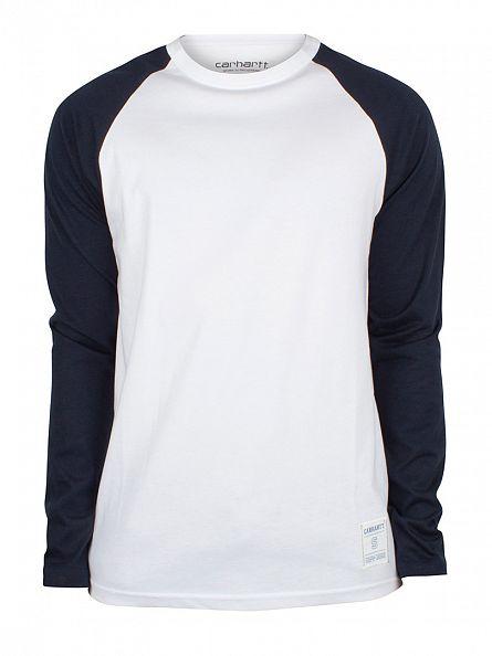 Carhartt WIP White/Navy Longsleeved Raglan Dodgers T-Shirt