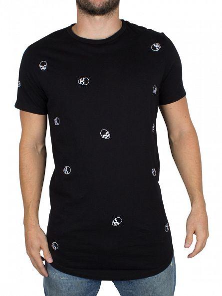 Religion Black Random Skull All Over T-Shirt