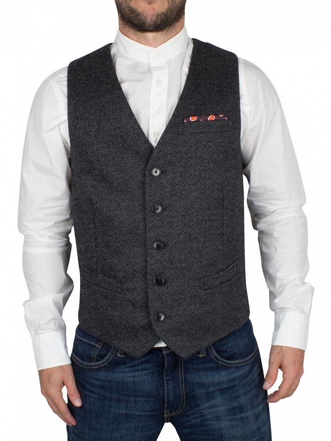 scotch soda charcoal classic knitted gilet waistcoat 135325 17 23598. Black Bedroom Furniture Sets. Home Design Ideas