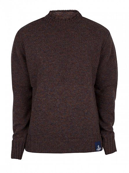 Vivienne Westwood Brown Double Collar Logo Knit