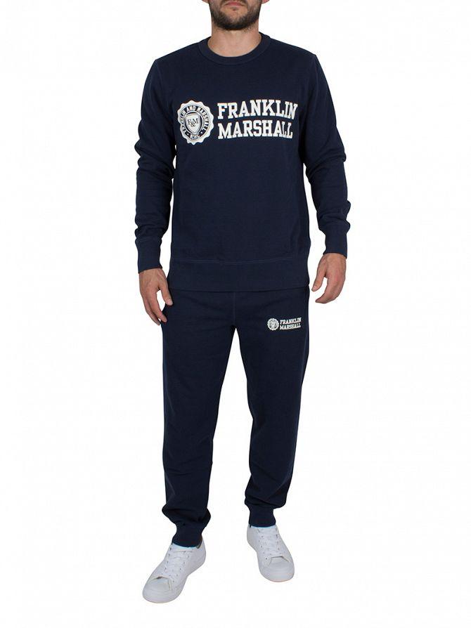 Franklin & Marshall Navy Stamp & Text Sweatshirt Tracksuit