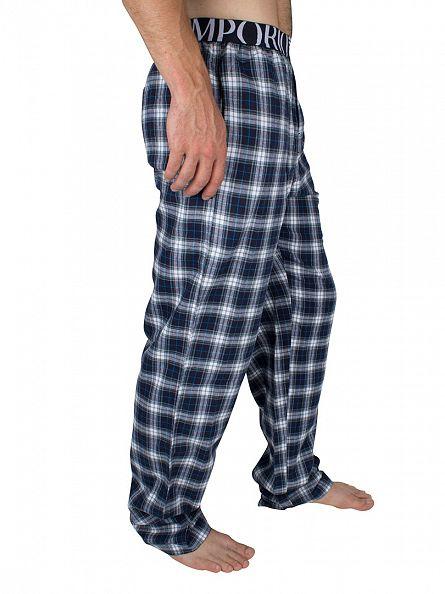 Emporio Armani Navy Logo Checked Pyjama Bottoms