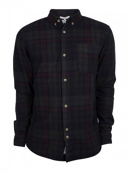 Bellfield Black Heathcliff Overdye Flannel Check Shirt