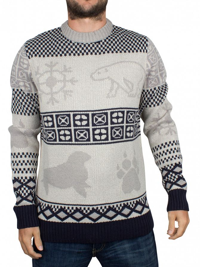 Bellfield Ecru Polar Animal Jacquard Knit