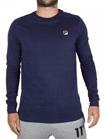 Fila Vintage Peacoat Longsleeved Felice Logo T-Shirt