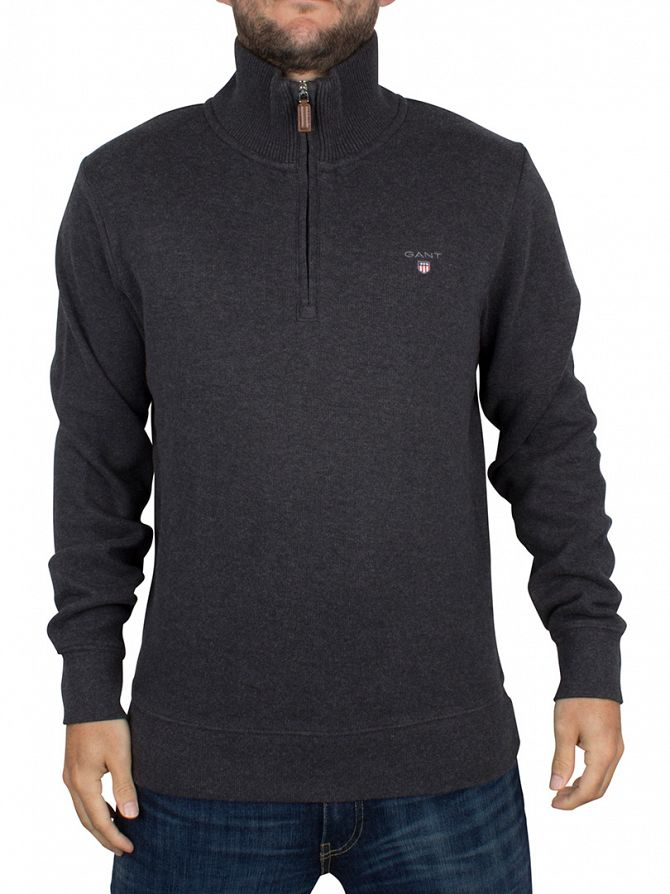 Gant Dark Anthracite Melange Sacker Rib Zip Knit