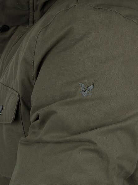 Lyle & Scott Dark Sage Shearling Lined Logo Parka Jacket