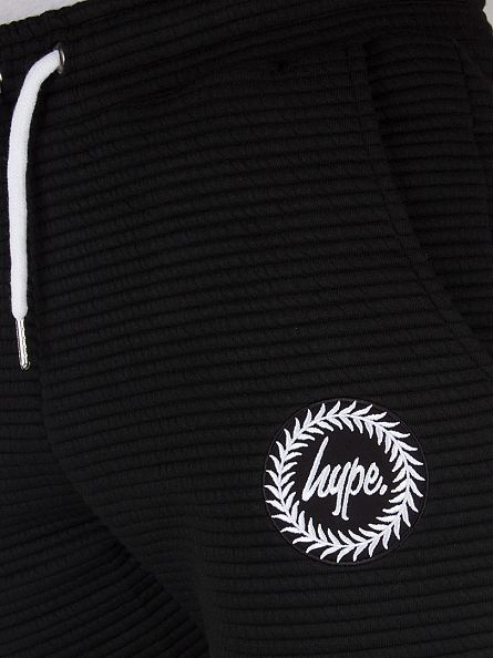 Hype Black Ribbed Logo Joggers