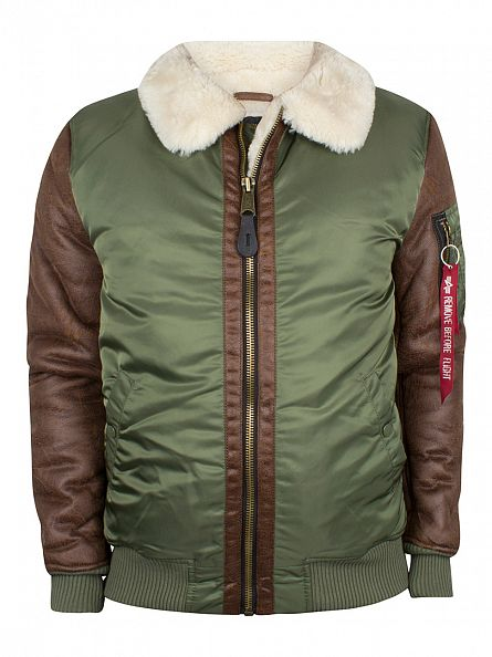 Alpha Industries Sage Green B3 Fur Collar Bomber Jacket