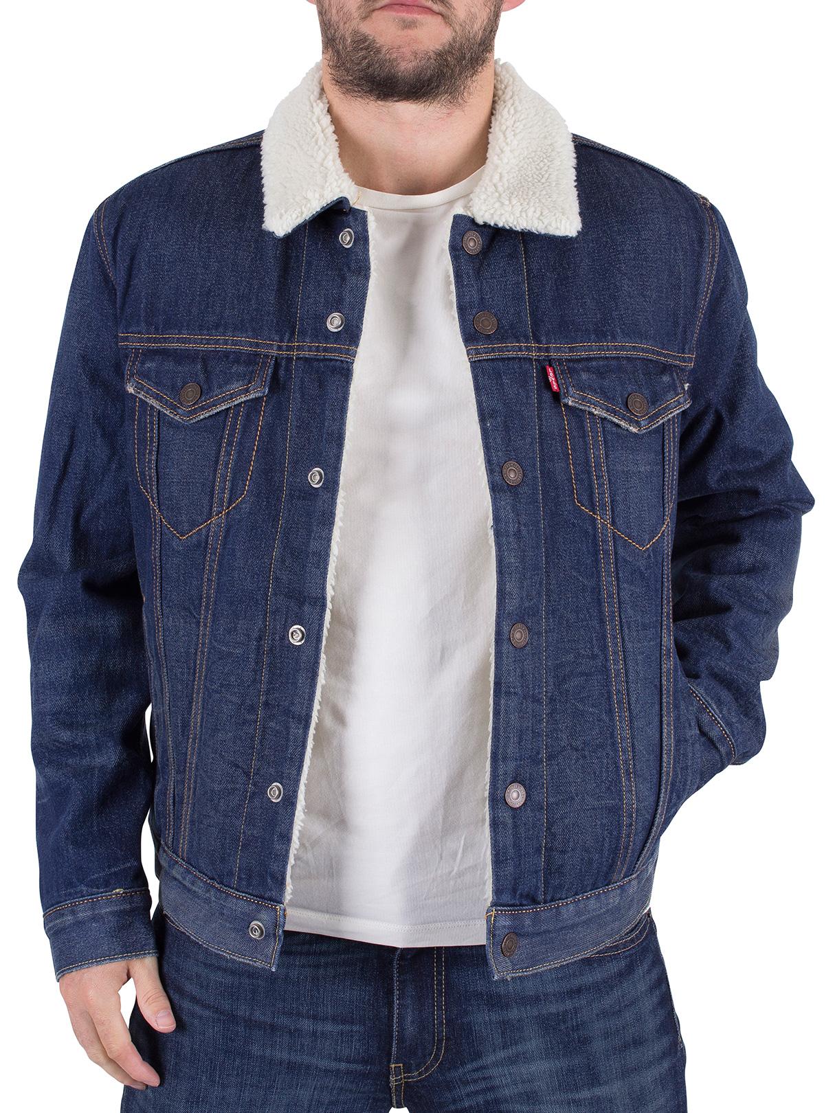 Levi's Men's Type 3 Lucky Town Sherpa Jacket, Blue