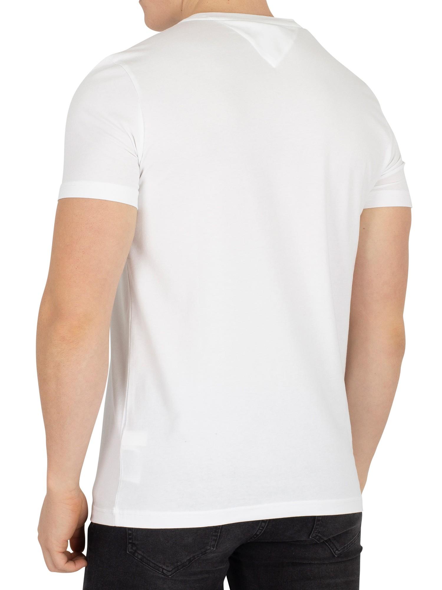 tommy hilfiger herren slim fit stretch logo t shirt wei. Black Bedroom Furniture Sets. Home Design Ideas