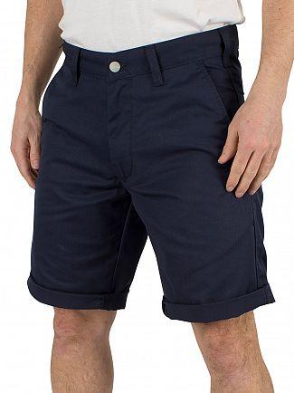Carhartt WIP Navy Rinsed Presenter Chino Logo Shorts