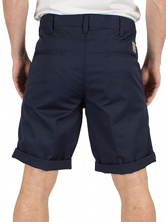 Carhartt WIP Navy Rinsed Presenter Chino Logo Shorts