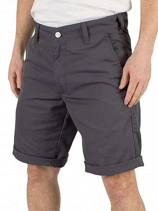 Carhartt Wip Blacksmith Rinsed Presenter Chino Logo Shorts