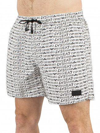 Emporio Armani White Ea7 All Over Logo Print Swim Shorts