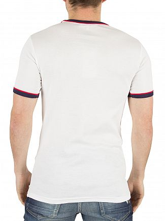 Fila Vintage White Razee Panel Stripe Logo T-Shirt