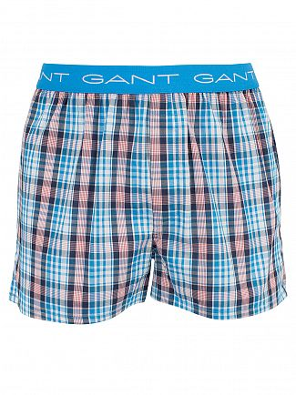 Gant Sharp Blue 2 Pack Woven Checked Trunks
