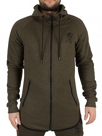 Gym King Olive SNP Performance Zip Logo Hoodie