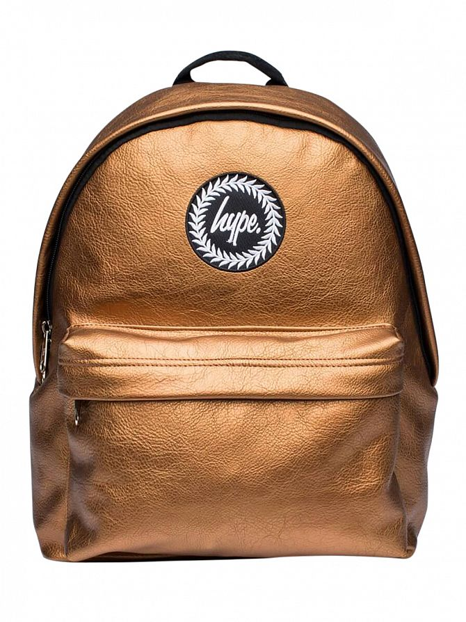 Hype Gold Copper Textured Logo Backpack