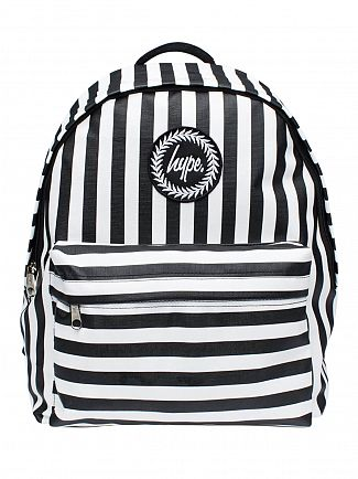 Hype White/Black Humbug Stripe Logo Backpack