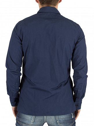 J Lindeberg Mid Blue Daniel CL Slim Fit Zip Overshirt